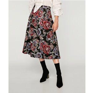 Zara Jacquard Midi length Floral Skirt